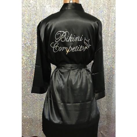 Bikini Competitior's Satin Robe- Black