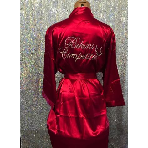 Bikini Competitior's Satin Robe-Burgandy