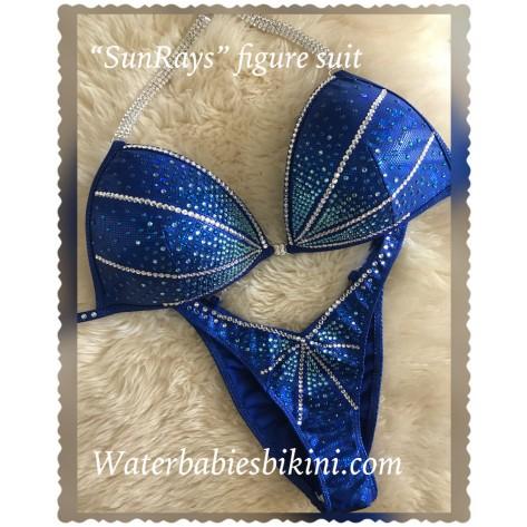 Intermediate 107- Sun Rays Blue Competition Figure suit