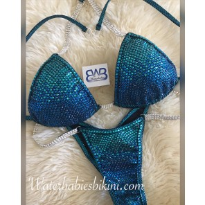 Dark Angel Blue Green 2 color Ombre- Competition Bikinis