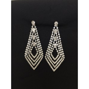 Hello Victoria Silver Rhinestone Earrings