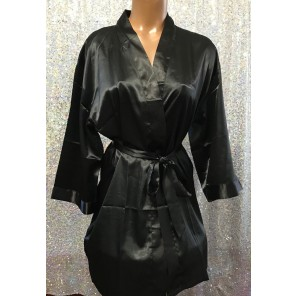 Figure Competitior's Satin Robe-Black
