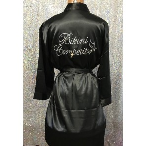 Bikini Competitior's Satin Robe- Black