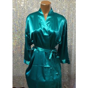 Figure Competitior's Satin Robe-Teal