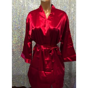 Bikini Competitior's Satin Robe-Burgandy