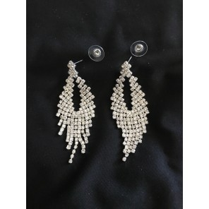 Fanout Clear Silver Earrings