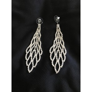 Clear Rhinestone Web Earrings