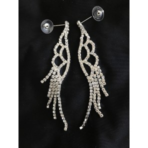 Wing Shaped Dangle Silver Earrings